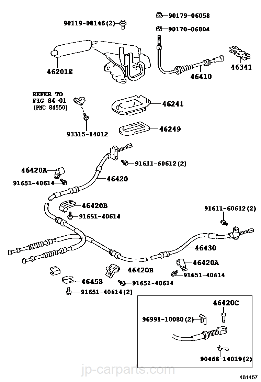 Toyota Corolla Repair Manual: Parking brake cable assy no.1
